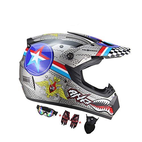 LUKUCEA Cascos de Motocross, Adulto Casco Motocross Enduro MTB con Gafas/Máscara/Guantes,Big Shark,M