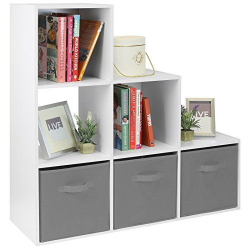 Hartleys White 6 Cube Unit and 3 Grey Storage Drawers