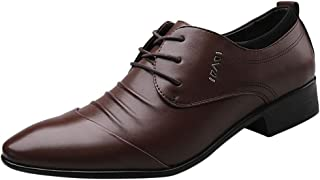 Abaimao Chaussures Hommes Ville Cuir Derby Hiver Mariage Dressing Oxford Pointu Business Vintage Chaussure en Cuir FR001