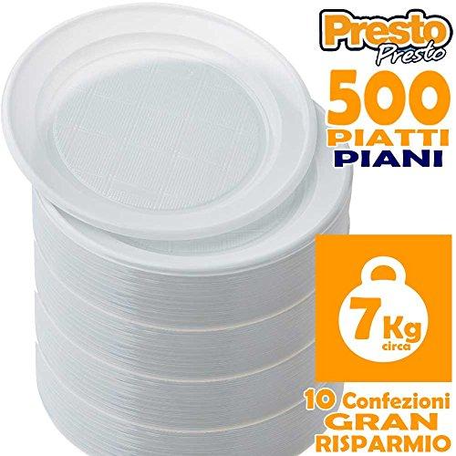 BAKAJI Confezione Gran Risparmio Promo Pack 500 Piatti Piani Bianchi in Plastica Monouso Presto, Formato Convenieza 10 Pacchi da 50 Pezzi, Rigidi, Diametro 22 Centimetri