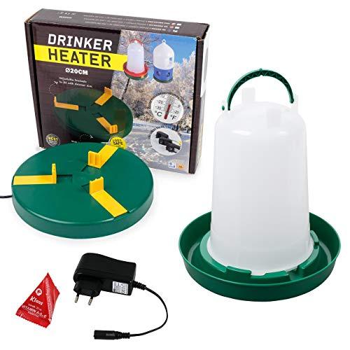 Agrarflora Set: Tränkewärmer Ø20cm + Geflügeltränke 1,5 Liter mit Bajonettverschluss + Vitaminkissen 20ml, Heizplatte, Wärmeplatte, Hühnertränke, Stülptränke, Tränke, Vitamine