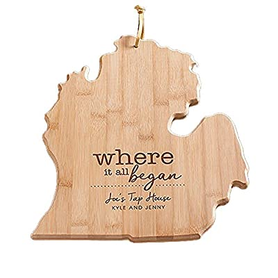 Engraved Where It All Began Michigan State Cutting Board, Bamboo, Personalized