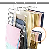 Pants Hangers Space Saving, DUSASA 2 Pack 9 in 1 Multifunctional Pants Rack with Non-Slip Clip, Multilayer Slacks Hanger Stainless Steel Pant Rack Closet Space Saver