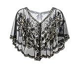 Metme Vintage Women 1920s Gatsby Theme Flapper Cover Ups Sequin Cape Evening Wrap,Black,One Size