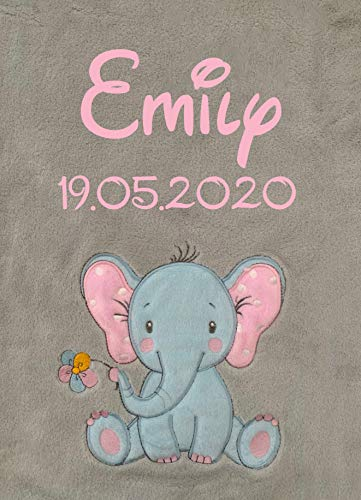 KIDDI-MEDIA Babydecke Bestickt mit Name und Geburtsdatum/kuschelig weich / 1A Qualität (Grau - Elefant)
