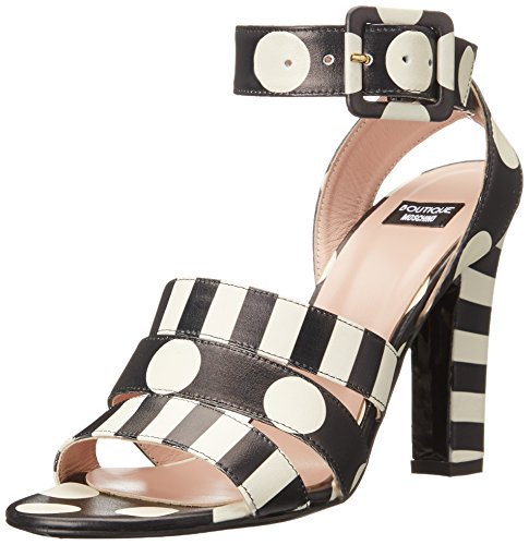 Moschino Cheap and Chic Womens Stripes and Polka Dots Dress Sandal, Black/White, 37.5 EU/7.5 M US