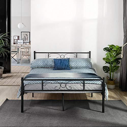 SYMY Metallbett 140x200 cm Schwarz auf Stahlrahmen mit Lattenrost Bettgestell mit Kopfteil Design Jugendbett Gästebett