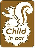 imoninn CHILD in car ステッカー 【マグネットタイプ】 No.36 リスさん (ゴールドメタリック)