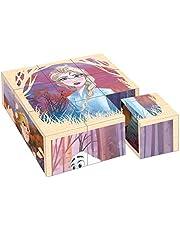 John 40357 - Puzzle de Dados de Frozen, 9 Piezas, con 6 diseños Diferentes, 100% Madera certificada FSC, Multicolor