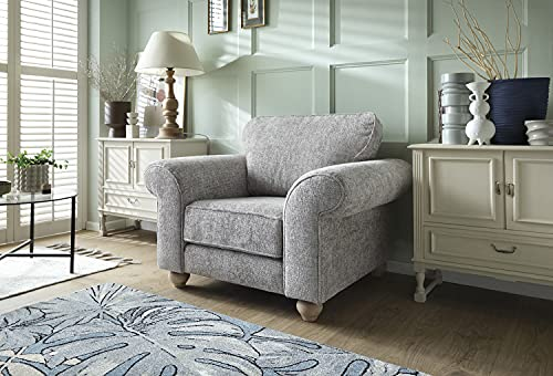 Abakus Direct | Ingrid 3 or 2 Seater Sofa Set, Armchair, Cuddle Chair in Chenille Ash Grey (Armchair)