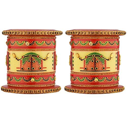 Efulgenz Indisches Armreif-Set, Bollywood, traditionell, handgefertigt, Kundan, Brautschmuck, Rot,