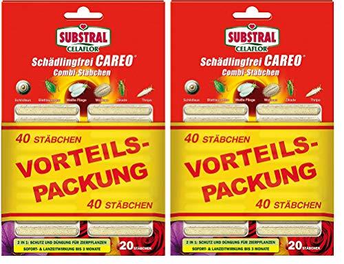 Jupiter Celaflor Schädlingsfrei Careo Combi-Stäbchen, mit Pflanzenschutz und Düngerfunktion, 40 St -2 Pack