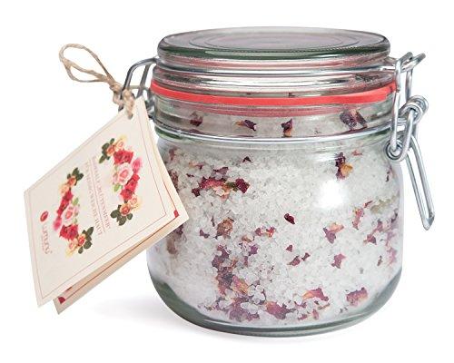 Deluxe Aroma Bade-Salz mit Rosenblüten BLÜTENMEER, mineralisches Steinsalz aus Deutschland für Entspannungs-Bäder (700g), von Venize