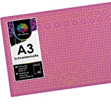 OfficeTree Base de Corte A3 Rosa - Tabla de Corte Patchwork 45x30 cm - Alfombrilla de Corte A3 - para Patchwork Costura y Manualidades