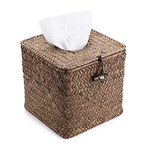 Sumnacon Square Woven Tissue Box Holder, Decorative Napkin Holder Pumping Paper Case Dispenser, Facial Box for Home Office Car Automotive Decoration, Coffee