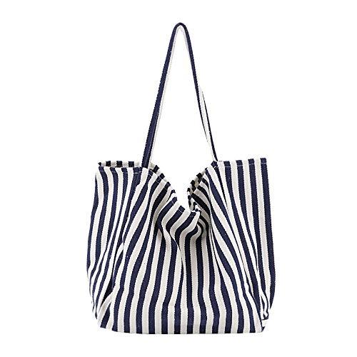 RUYU 1 st Vrouwen Canvas Grote Winkeltas Mode Gestreepte Doek Herbruikbare Tote Bag Vrije Schouder Grote Capaciteit Eco Shopper Tassen