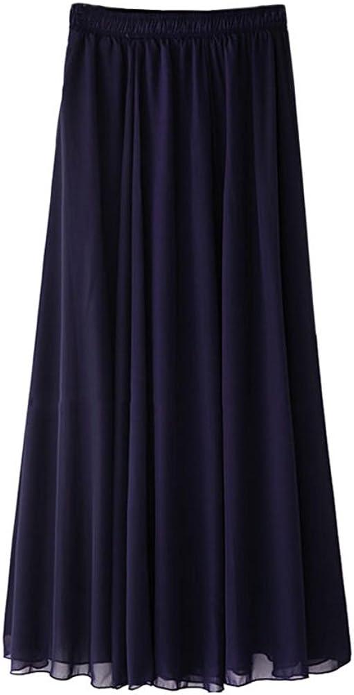 Ezcosplay Women's Double Layer Retro Chiffon Long Skirt Elastic Waist Boho Skirt