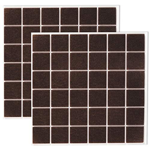 Filzada 72x Feltrini autoadesivi - 25 x 25 mm quadrato - Marrone - Feltro per mobili professionali scivola con potere adesivo ideale