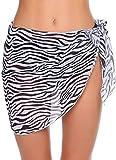 JFAN Traje de Baño para Mujer Vestido Envolvente Traje de Baño Chal de Gasa Pareo de Playa Falda de Pareo Tropical(O,Talla única
