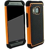 Outdoorschutzhülle für HTC ONE M9 orange Hülle inkl. Panzerglas 9H transparent Outdoor Cover Hybrid Schutz Hülle Sturz Bumper Folie Schwarz Black