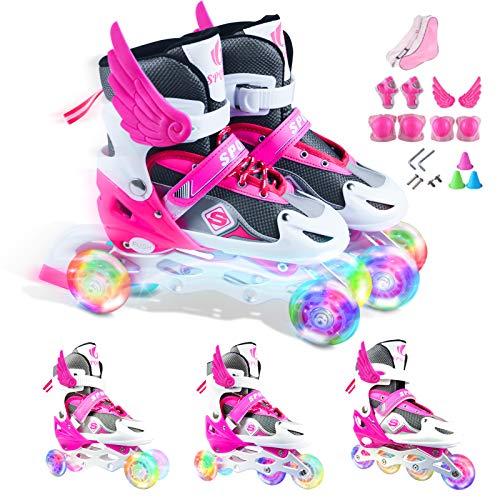 Verstellbar Inline Skates für Jungen Mädchen Anfänger,3 in 1 Rollschuhe Triskates Inlineskates mit LED leuchtendem Rad Sicher und langlebig für Frauen und Männer Kinder und Erwachsene