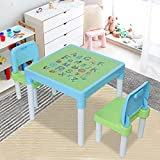 Toddler Table and Chair Set, Kids Activity Plastic Desk and Two Chairs, Lightweight, Children's Study Desk Set for Boys Girls, Kids Activity Art Desk for Garden or Inside (Blue)