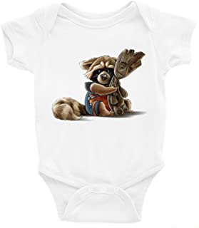 Rocket and Groot Guardians of the Galaxy Short Sleeve Unisex Onesie (0-3)