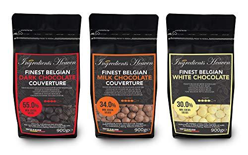 Ingredients Heaven - Feinste Belgische Dunkle (Zartbitterschokolade), Milch & Weiße Schokolade Kuvertüre - Finest Belgian Dark, Milk & White Chocolate Couverture Bundle - 3er Pack (3 x 900g)