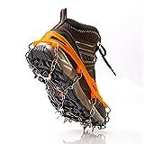 Crampones para botas de montaña, 19 dientes de acero inoxidable, universales, antideslizantes, para escalada, montañismo, senderismo, esquí, deportes de invierno (negro, L)
