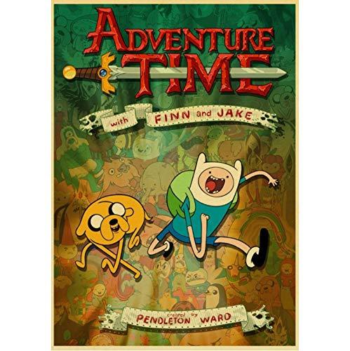 Poster Cartoon Adventure Time Retro Poster Und Drucke Kunst Leinwand Malerei Wandbilder Für Wohnzimmer Home Decor 50X70Cm No Frame