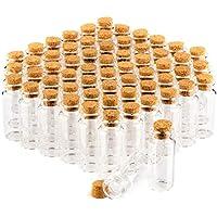 com-four® conjunto de tarros de especia 60x con corchos, mini viales de vidrio, juego de tarros de dulces, almacenamiento de aceites, especias, hierbas o té de aproximadamente 10 ml (060 piezas)
