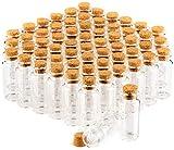 com-four barattolo di spezie 60x con tappi di sughero, fiale di vetro mini, set di barattoli di caramelle, stoccaggio di oli, spezie, erbe o tè circa 10 ml (060 pezzi)