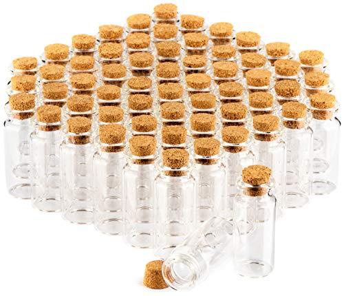 com-four® 60x Boccette di Vetro con Tappo Sughero- Mini Bottiglie- Set Bottigliette Vetro per Caramelle- Conservare Oli, Spezie, Erbe o Tè, ca. 10 ml (060 pezzi)