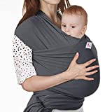 Lictin Baby Wrap-Baby Carrier Adjustable Breastfeeding Cover Cotton Baby Carrier Wrap for Infants up to 35 lbs/16kg, Soft and Comfortable with Storage Bag (Dark Gray)