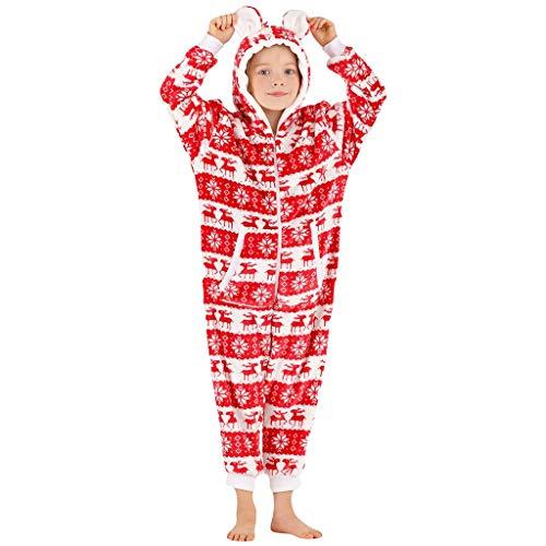 Sannysis Weihnachts Schlafanzug Kinder Jumpsuit Einteiler Trainingsanzug Weihnachten Pyjama Schlafanzüge Jungen Mädchen Baby Nachtwäsche Winter Ganzkörperanzug Hausanzug (100, Rot)