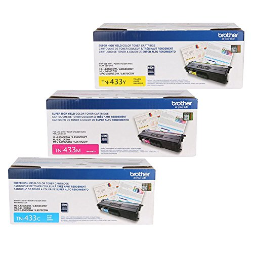 Brother TN433C, TN433M, TN433Y (TN-433C, TN-433M, TN-433Y) Cyan, Magenta and Yellow Color Toner Cartridge Set