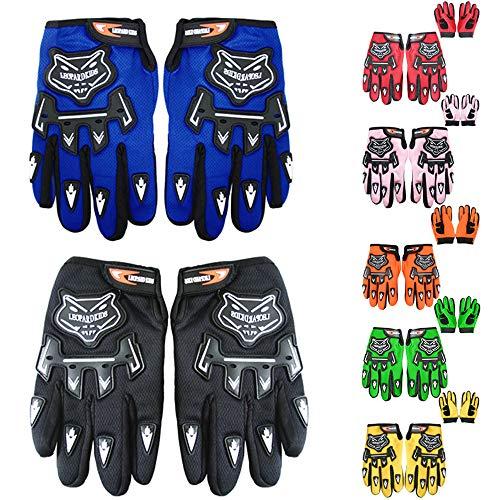 Leopard Kinder Motocross Handschuhe Grün (M - 6cm) Cross Motorrad Quad Off-Road für Youth
