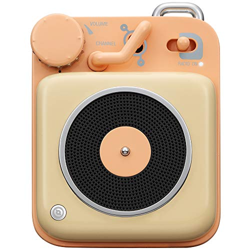 Mini Bluetooth Speaker, MUZEN Button Metal 3W Portable Vintage Wireless Rechargeable High Definition Loud Volume Audio Speaker with Lanyard, Classic Retro Gift for Birthday Outdoor (Peach)