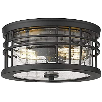 Zeyu Industrial Ceiling Light, Farmhouse Flush Mount Ceiling Light 12 Inch, Black Finish with Seeded Glass, ZW01-F BK-R