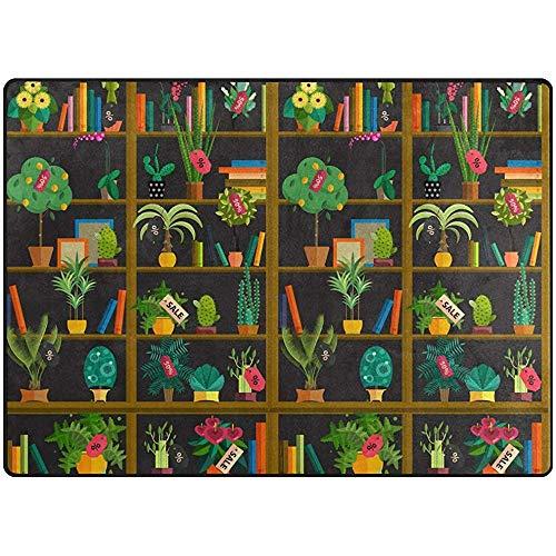 qinzuisp Area Rug Planten op planken, licht, antislip, voor woonkamer, slaapkamer, huis, brug, 150 x 100 cm