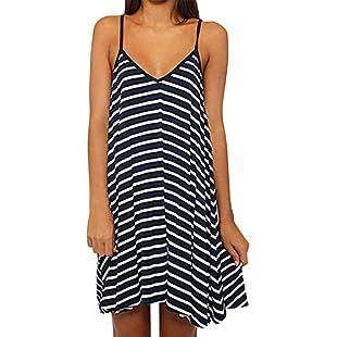 Customer reviews Women Juniors Sexy Spaghetti Strap Deep V-Neck Backless Striped Dress Loose A-line Mini Beach Dress:Greatestmixtapes
