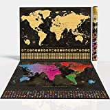 Habit Trotter Scratch Off Map of The World with Outlined US States White
