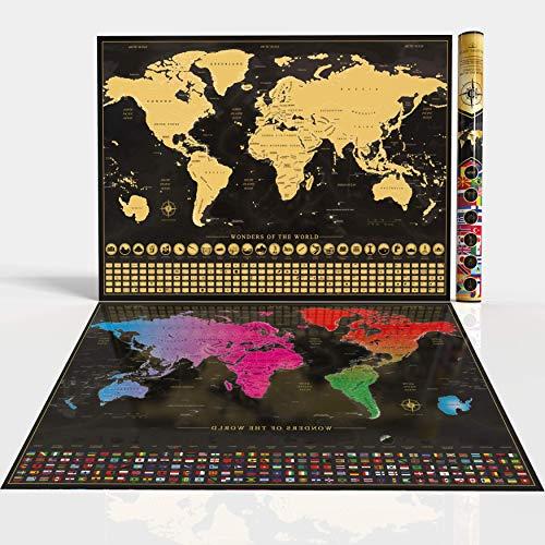 Schwarzes Deluxe Cartographic Design Poster Weltkarte Scratch Off Map 86,3 x 59,9 cm inkl Zubeh/ör zum Kratzen beste Geschenk f/ür travelers