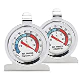 Color You 2 Piece Fridge Thermometer Freezer Thermometers, Stainless Steel Fridge Refrigerator Thermometer, Fridge Freezer Thermometer with Hanging Hook and Stand for Home, Restaurants, Bars, Cafes