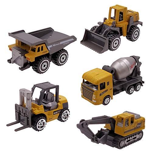 Dreamon Baustellen Fahrzeuge Metall Kunststoff Bagger Auto Kran Sandkasten Spielzeug Kuchendeko Geburtstag Geschenk Set für Kinder 3 4 Jahre