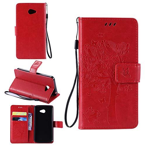 Sangrl Wallet Hülle Für LG K5 (2016), Mode PU-Leder Magnetisch Schliessen Schmetterling Handyhülle Mit Halterung Katze & Baum Geprägtes Design Hülle - Rot