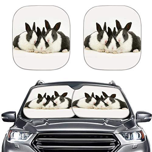Amzbeauty 2 parasoles para ventana frontal UV y reflector de calor universalmente aplicables para coches, sedán, vagón, furgoneta, SUV (bonito diseño animal).