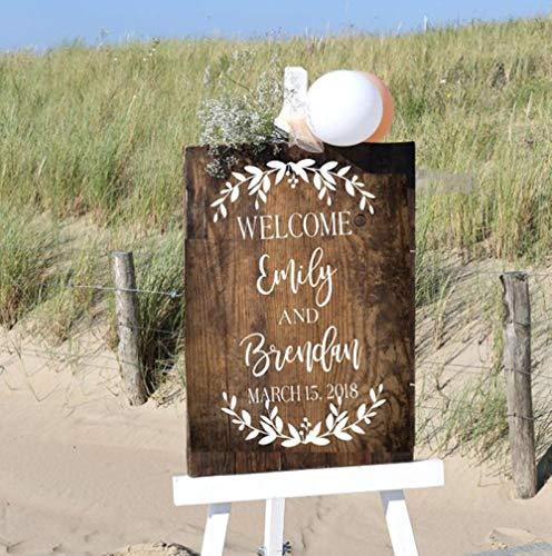 cooldeerydm bruiloft welkom teken sticker aangepaste bruiloft naam datum sticker bruid bezem welkom teken hout kunst muurschildering verwijderbare moderne decoratie N128