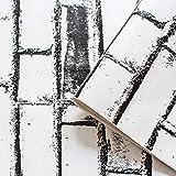 Papier peint 3D en forme de briques texturées - Papier peint vintage blanc noir - Briques à coudre - Papier peint autocollant pour étagère, papier d'impression étanche pour sticker mural