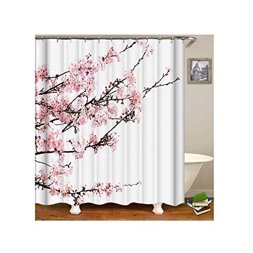 AmDxD Polyester Duschvorhang Pflaume Blühen Design Badewanne Vorhang Rose Weiß für Badezimmer Waschbar 180x200CM